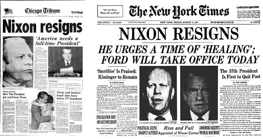 newspaper reports of Nixon resigning