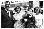Richard Nixon with his wife and 2 daughters