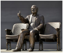 bronze statue of Ebert in Champaign, Illinois