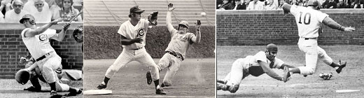 Ron Santo playing the field for the Cubs