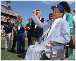 Roy Campanella in a wheel chair