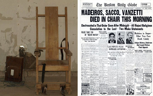 electric chair Sacco & Vanzetti died in