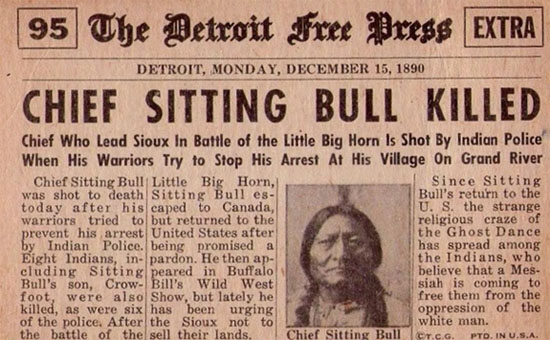 newspaper report of Sitting Bull' death