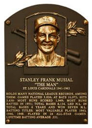 Stan Musial hall of fame plaque