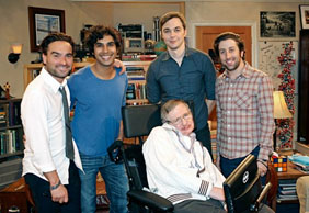 Stephen Hawking with the cast of The Big Bang Theory