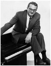 Steve Allen on top of a piano