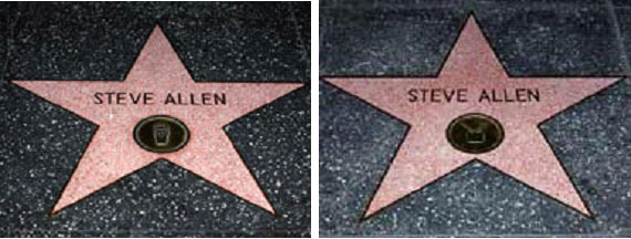 Steve Allen's two stars on the Hollywood Walk of Fame