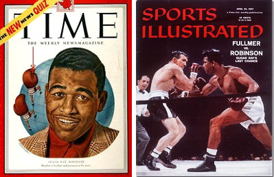 Sugar Ray Robinson on cover of TIME and Sports Illustrated magazines