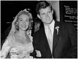 Ted Kennedy with wife, Virginia Joan Bennett in 1957