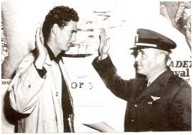 Ted Williams being sworn in to the military