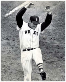 Ted Williams kicking dirt during a game