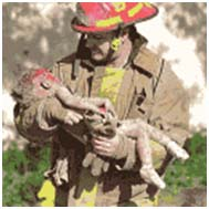 Fireman carrying a baby