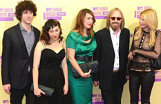 Tom Petty with his wife and kids