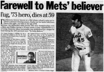 newspaper report of Tug McGraw's death