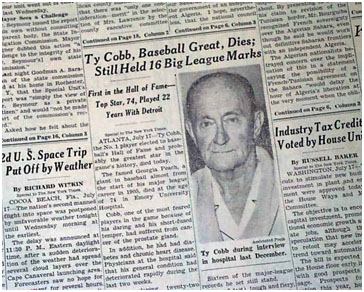 report of Ty Cobb's death in a newspaper