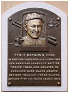 Ty Cobb hall of fame plaque