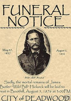 Wild Bill Hickok funeral notice
