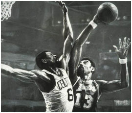 Wilt Chamberlain playing against Bill Russell of the Boston Celtics