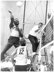 Wilt Chamberlain playing volleyball