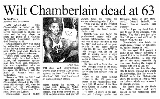 newspaper report of Wilt Chamberlain's death
