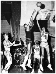 Wilt Chamberlain playing high school basketball