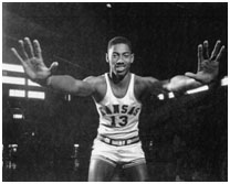 Wilt Chamberlain playing for the University of Kansas