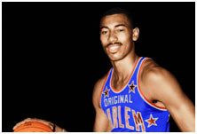 Wilt Chamberlain playing for the Harlem Globetrotters
