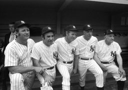 Yogi Berra with Yankee hall of famers