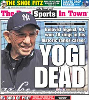 Newspaper report of Yogi Berra's death