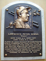 Yogi Berra hall of fame plaque